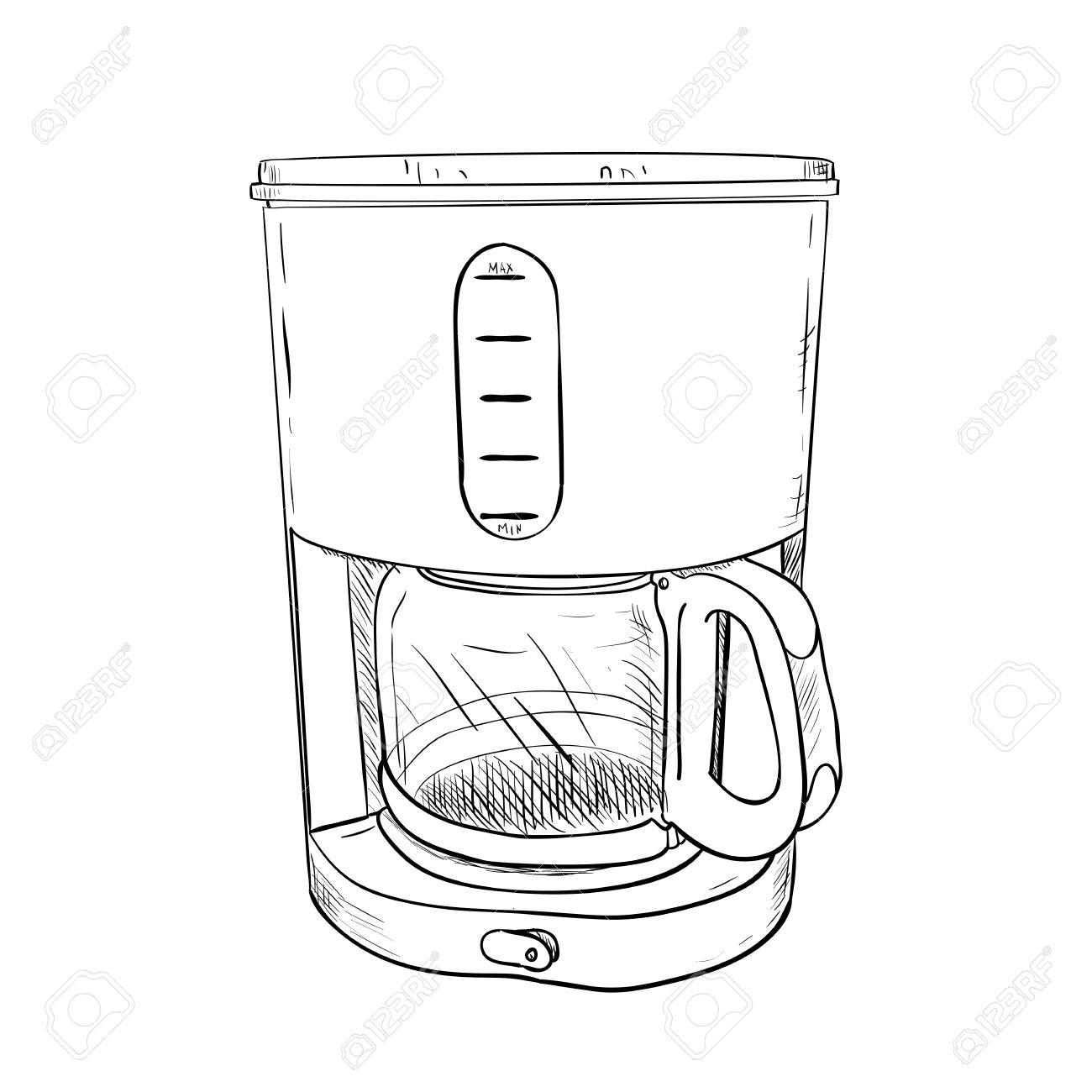 Vector Sketch Of Electric Coffee Maker. Hand Draw Illustration ...