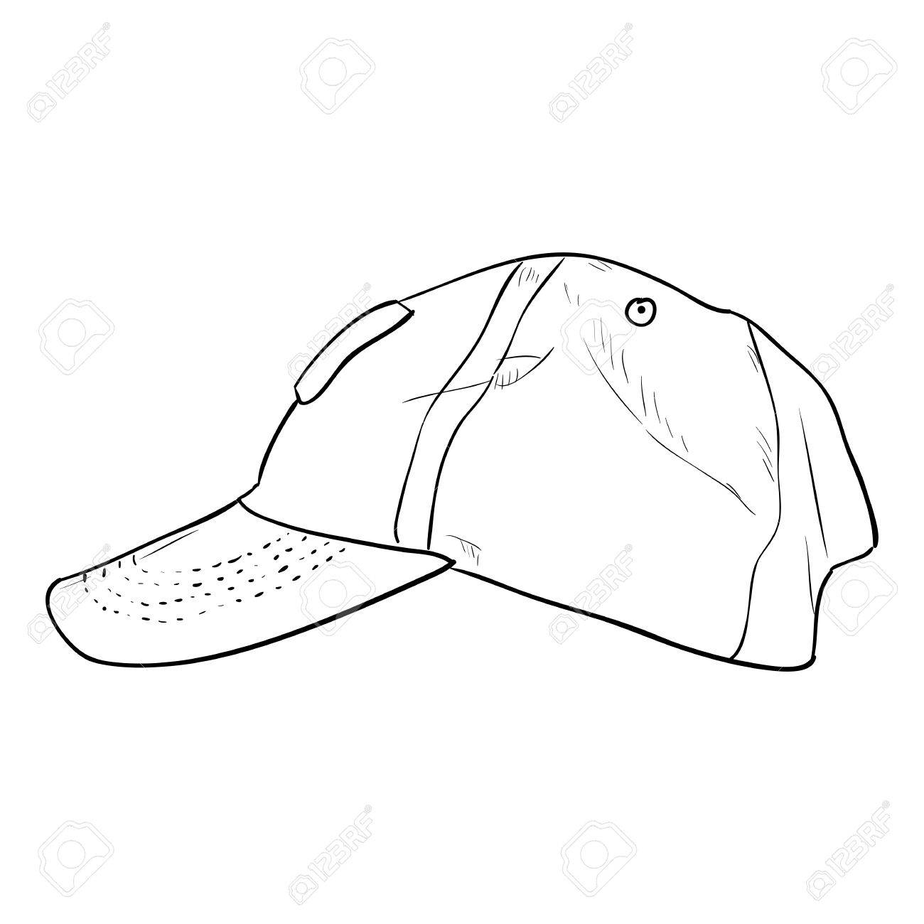 vector sketch cap template hand draw illustration royalty free