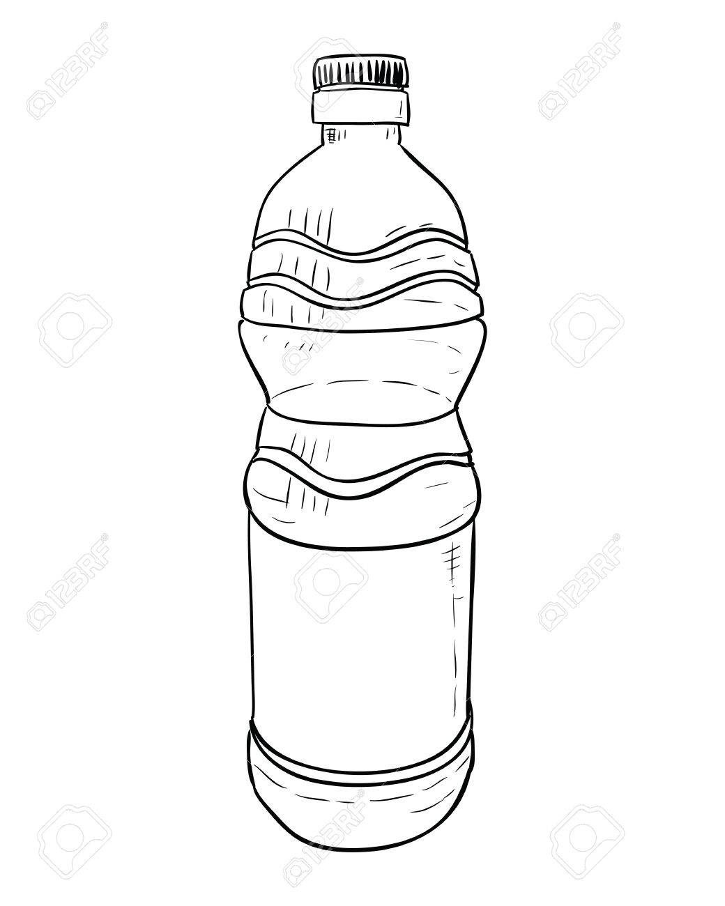 vector sketch of plastic bottle hand draw illustration royalty