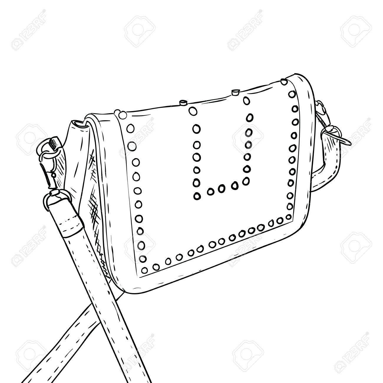 Sketch Of Ladies Handbag Female Stylish Fashion Bag Women Bag