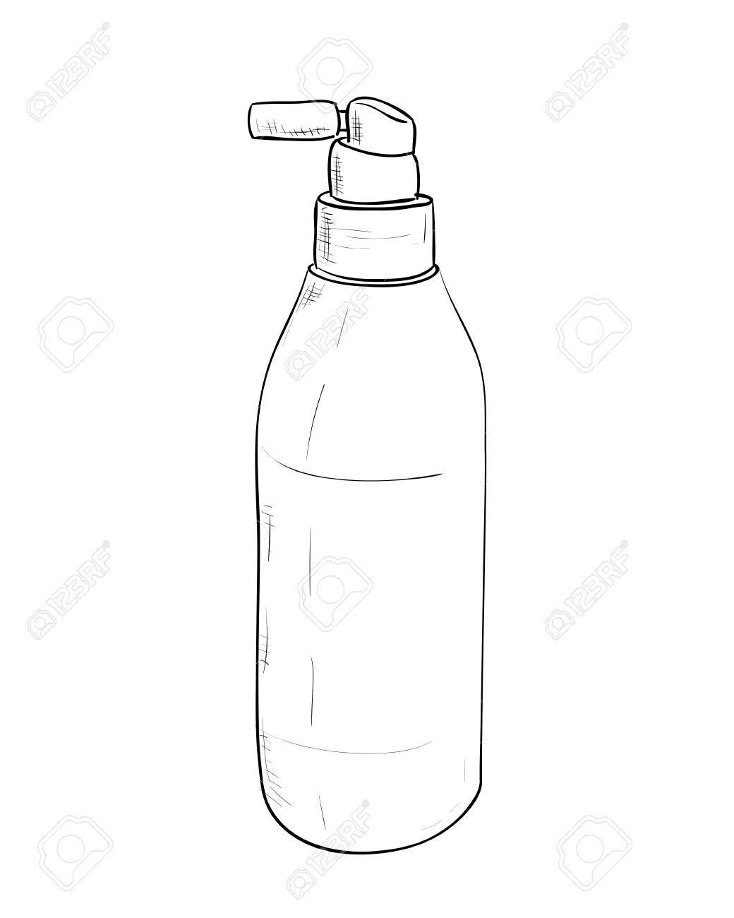 Vector vector sketch bottles of hair spray hand draw illustration