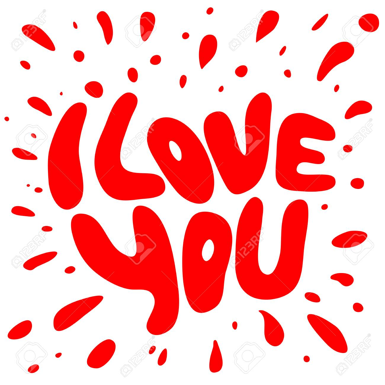 Words I Love You Shaped Graphics Elements For Greeting Cards