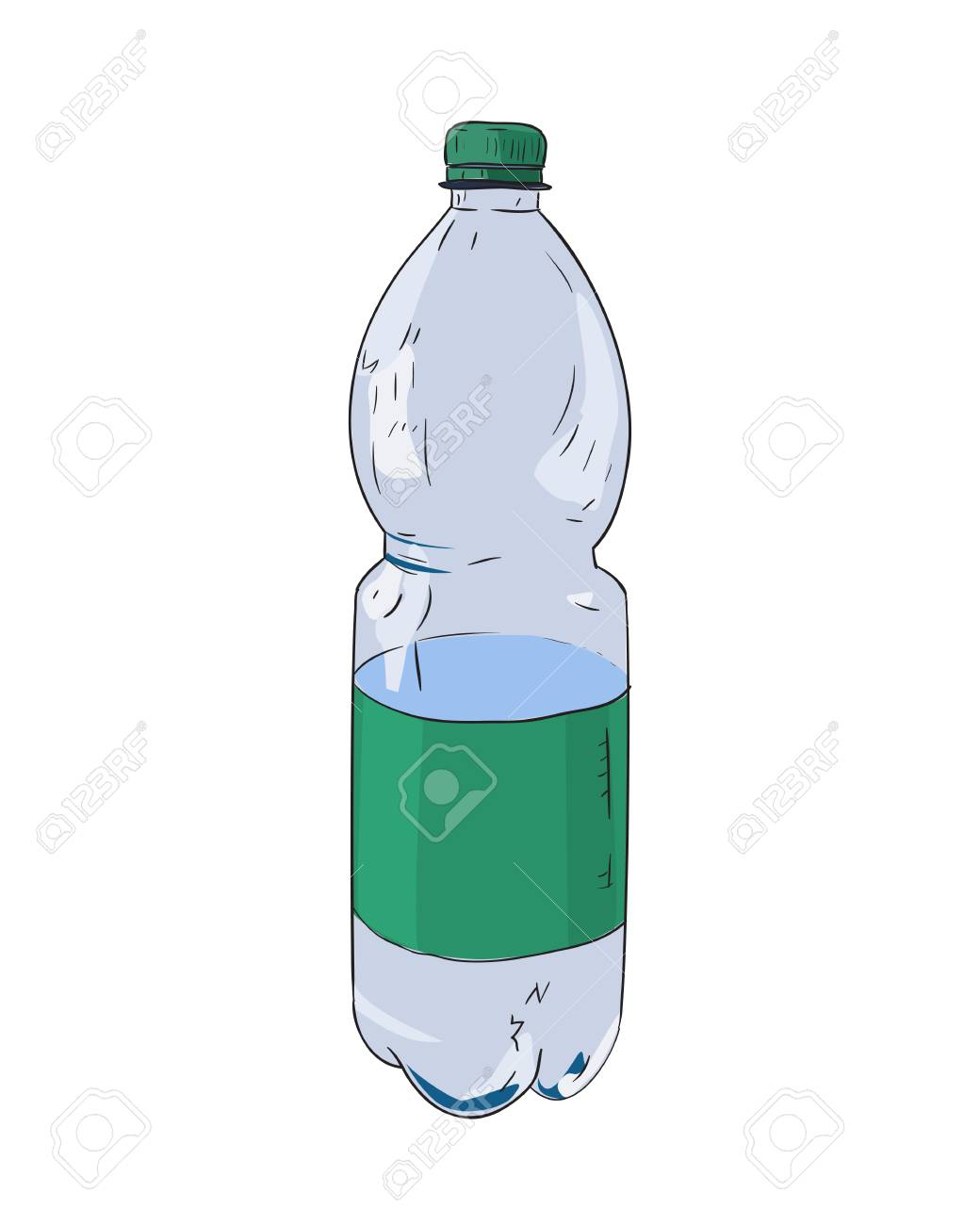 Vector vector color sketch of plastic bottle hand draw illustration