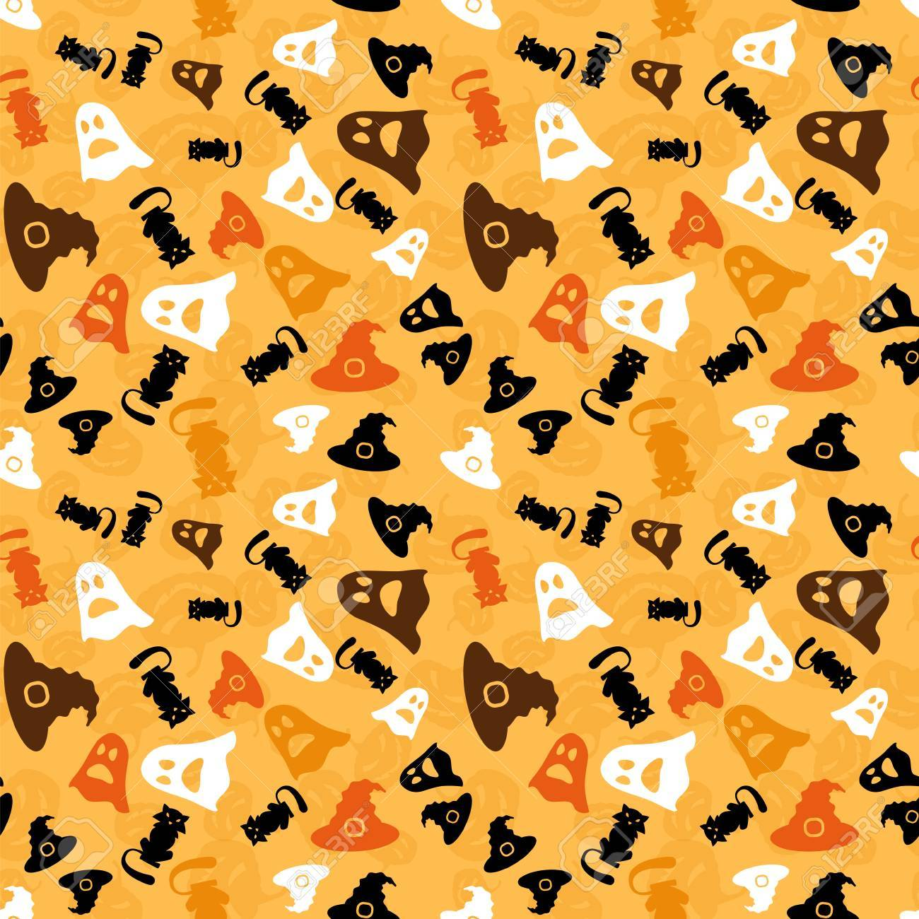 Halloween Seamless Pattern Vector Background Wallpaper With