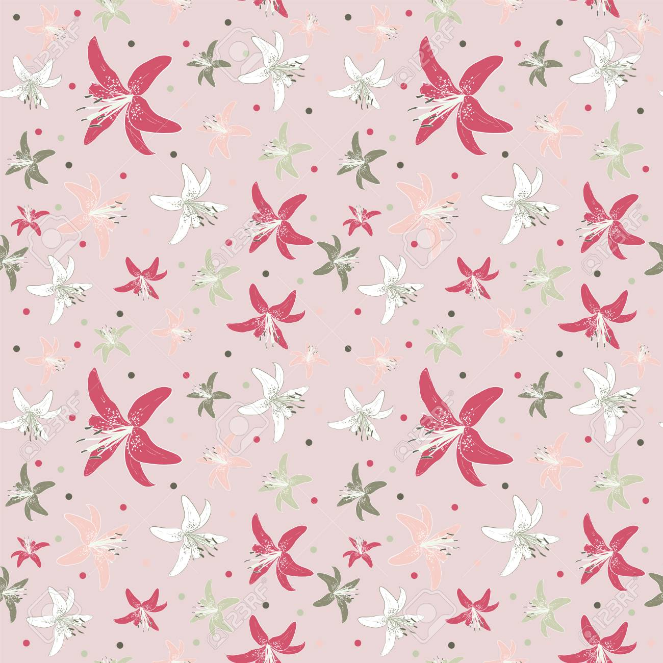 Seamless Colorful Floral Pattern Vector Background With Flowers