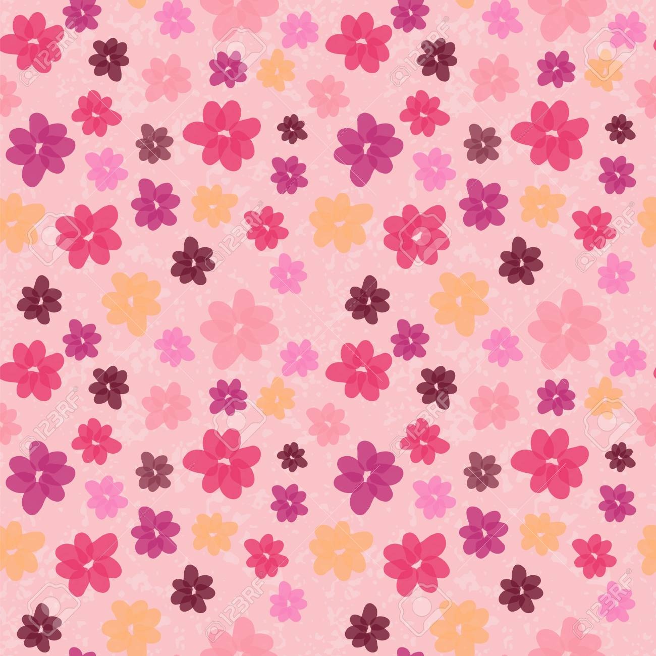Seamless Colorful Floral Pattern Vector Background With Abstract