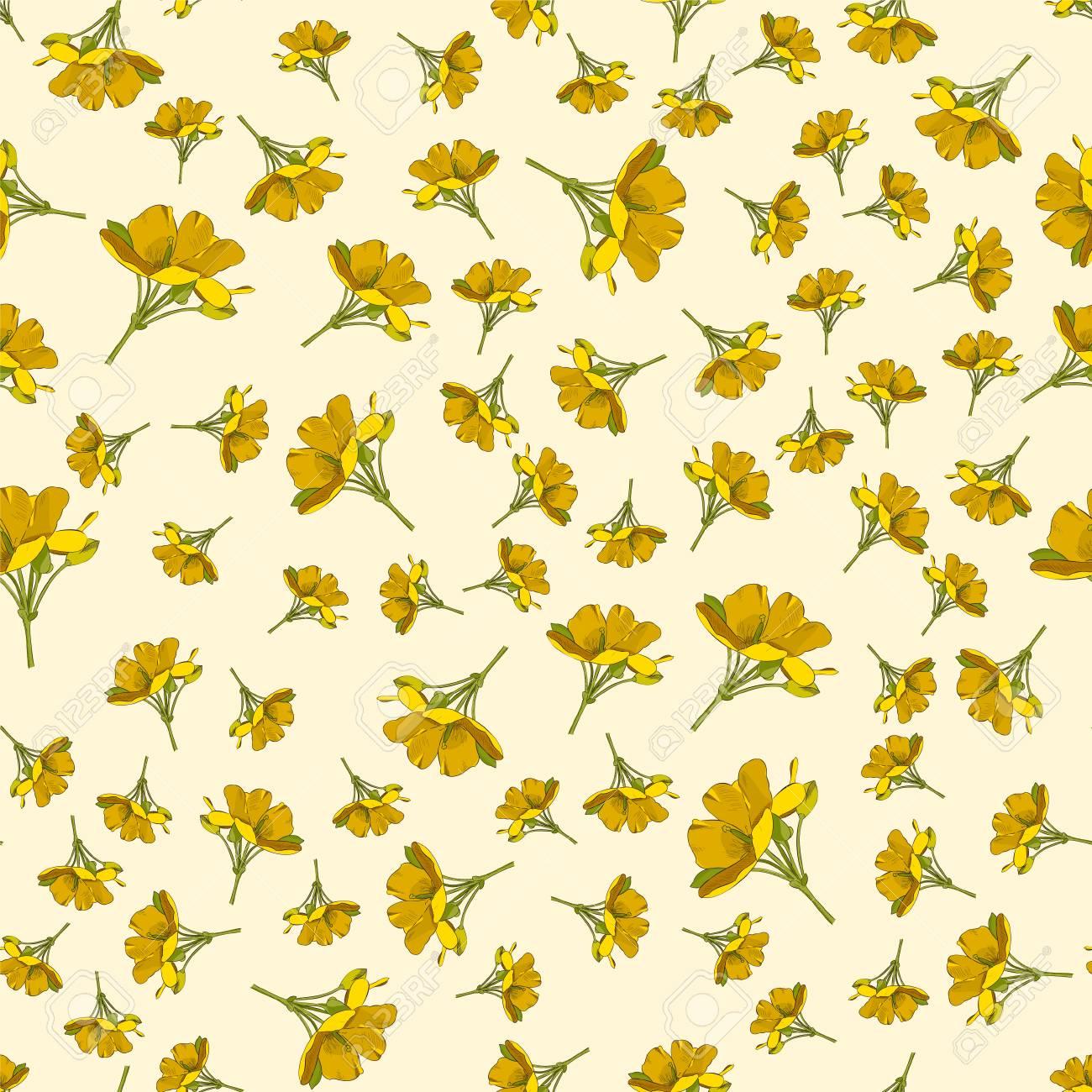 Seamless Cute Floral Pattern Yellow Flower Wallpaper Vector