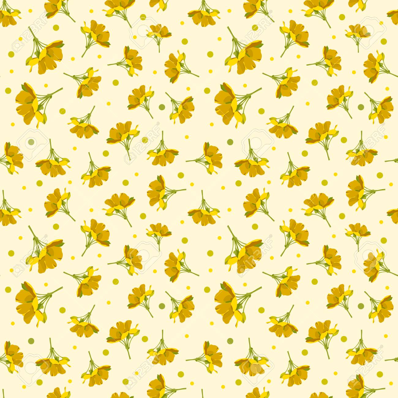 Seamless Cute Floral Pattern Yellow Flower Wallpaper Vector