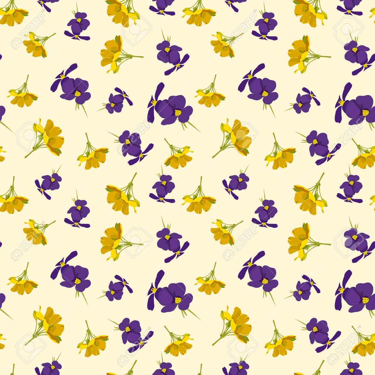 Seamless Cute Floral Pattern Purple And Yellow Flowers Wallpaper