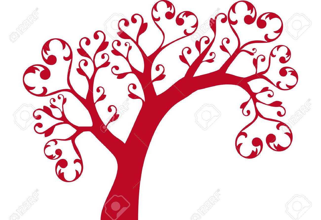 ornamental tree with heart swirls Stock Vector - 3404611