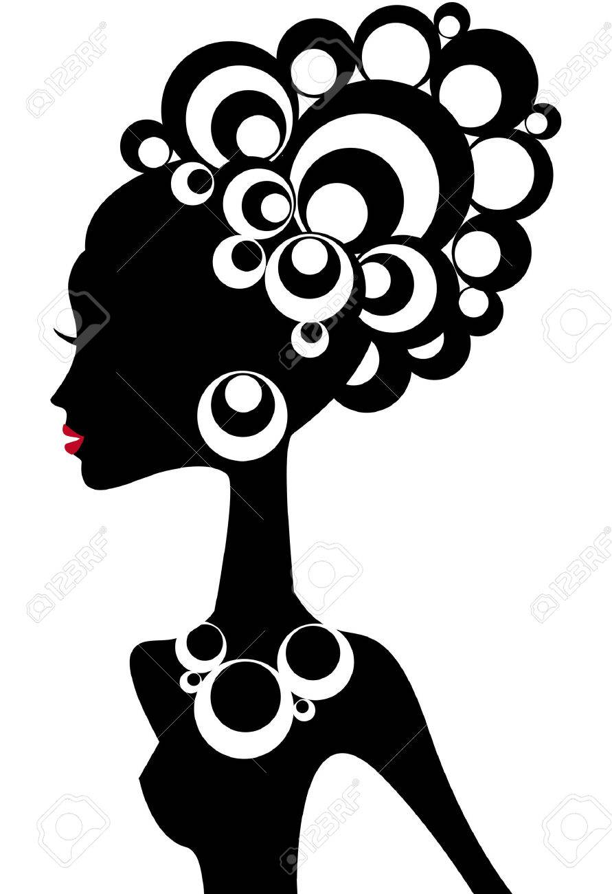 woman silhouette with black hair Stock Vector - 3658555