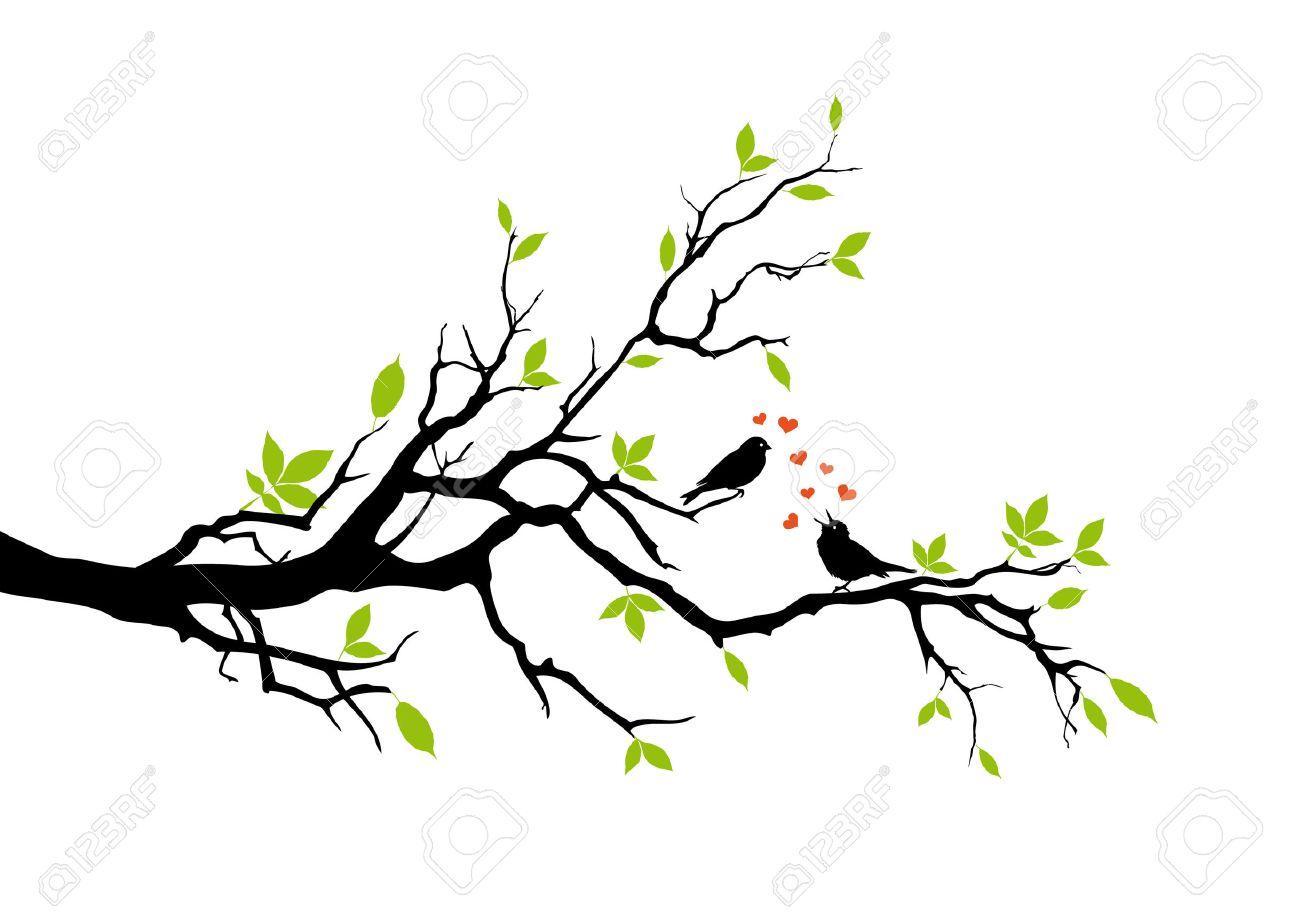 spring, two birds in love, vector Stock Vector - 4254512