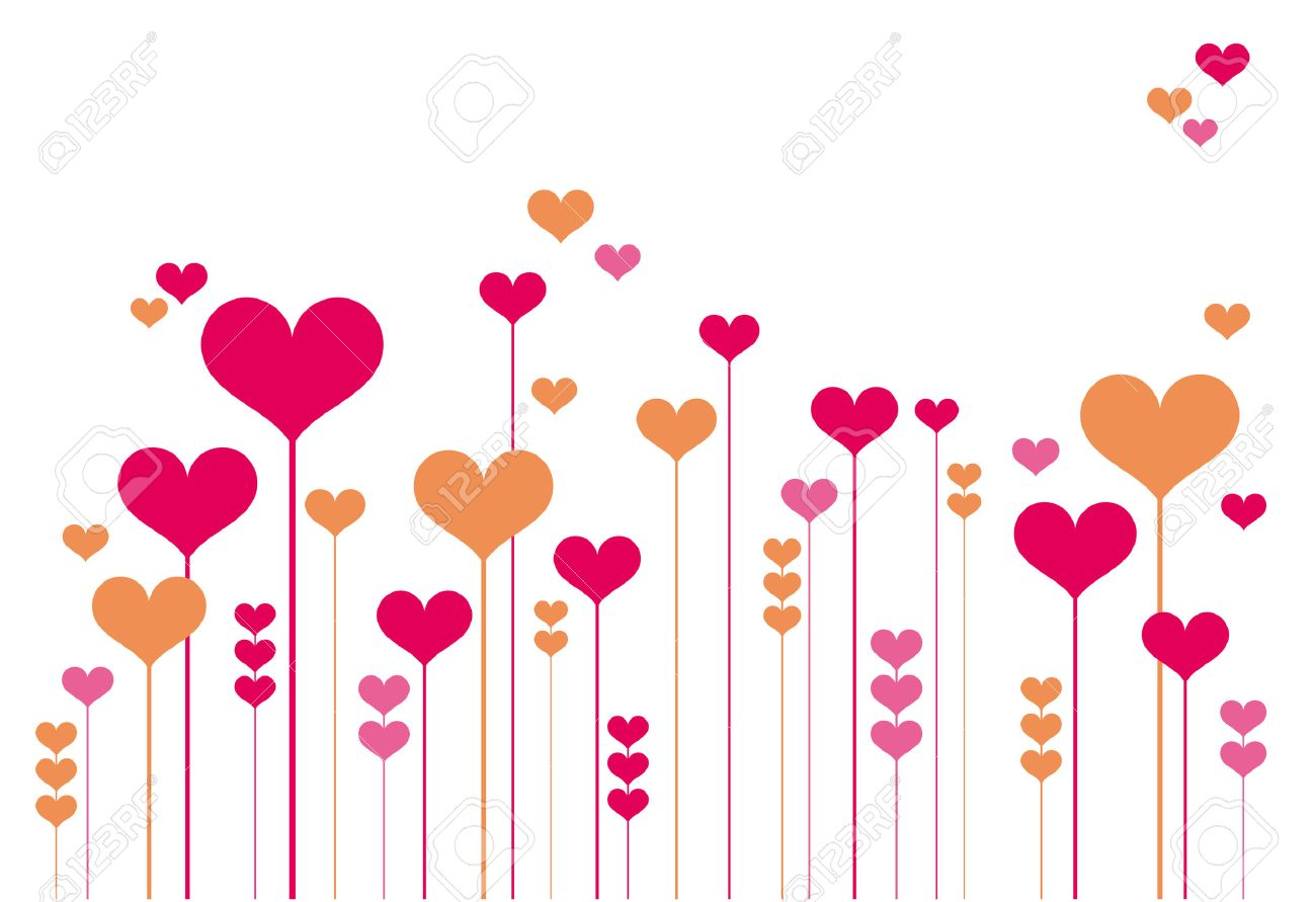 Abstract Heart Flowers Vector Background Royalty Free Cliparts