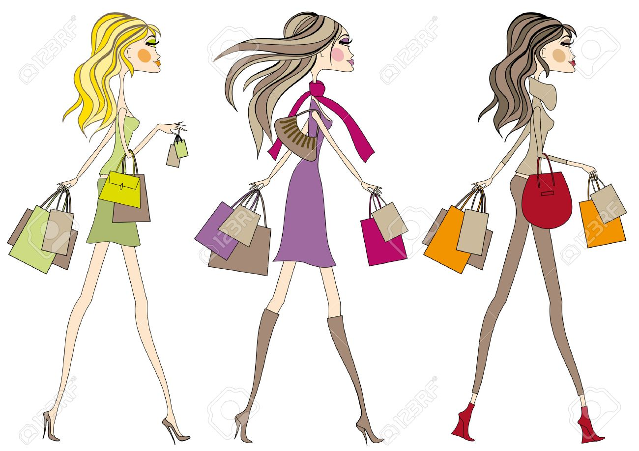 Fashion girls with shopping bags, vector - 5375616
