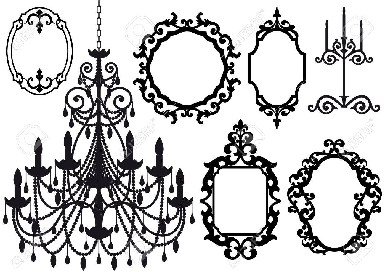 Antique Picture Frames And Crystal Chandelier Silhouette Royalty ...