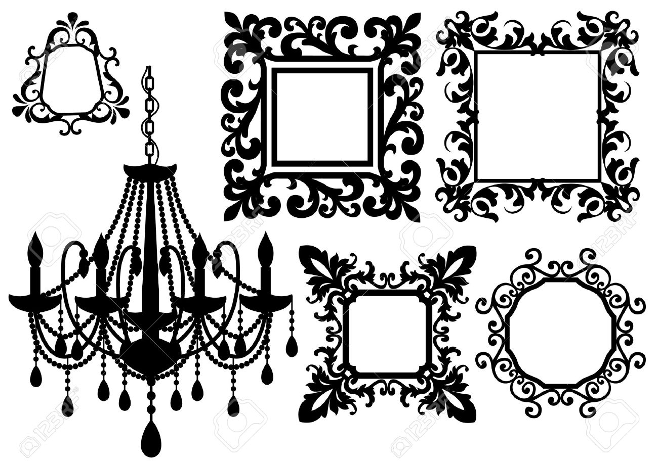 antique picture frames and crystal chandelier silhouette Stock Vector - 6496302