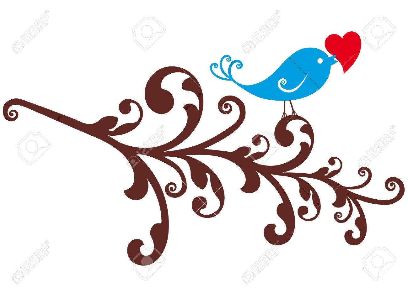 blue bird with red heart on ornamental branch , vector background Stock Vector - 7081541