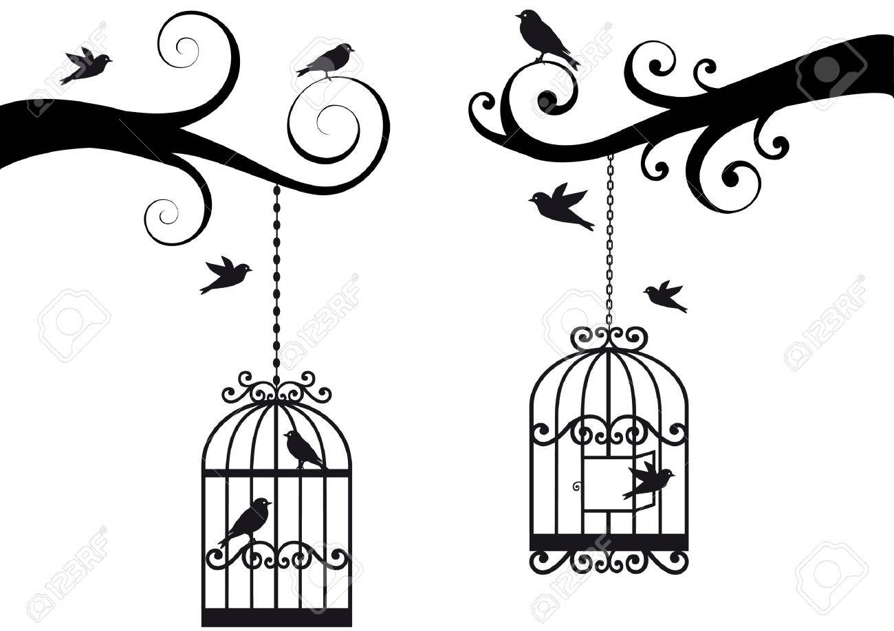 Open Birdcage Silhouette with birdcage and birds