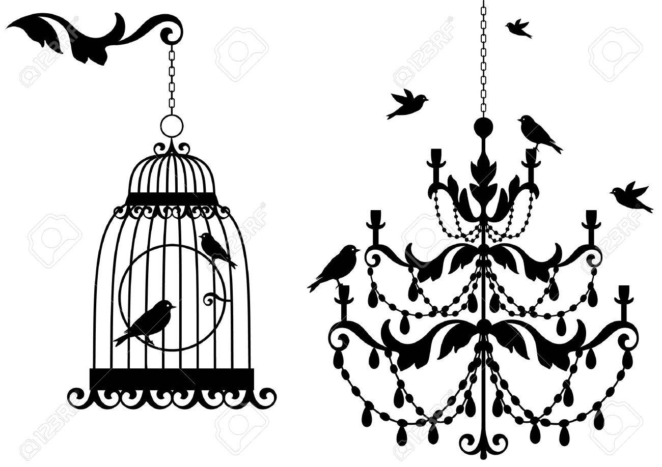 vintage birdcage and crystal chandalier with birds, background - 7275022