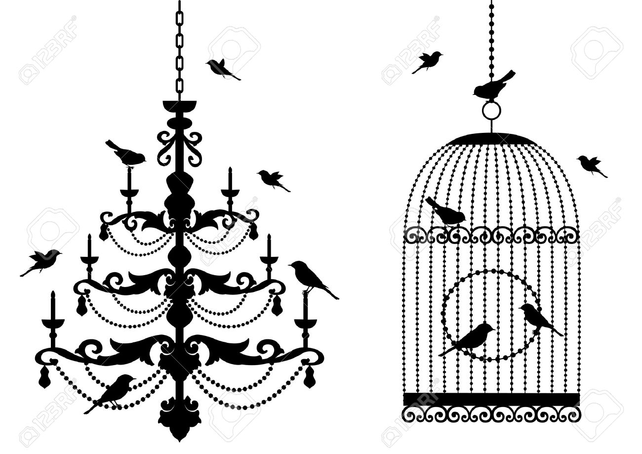 vintage birdcage and crystal chandelier with birds, background - 7325643