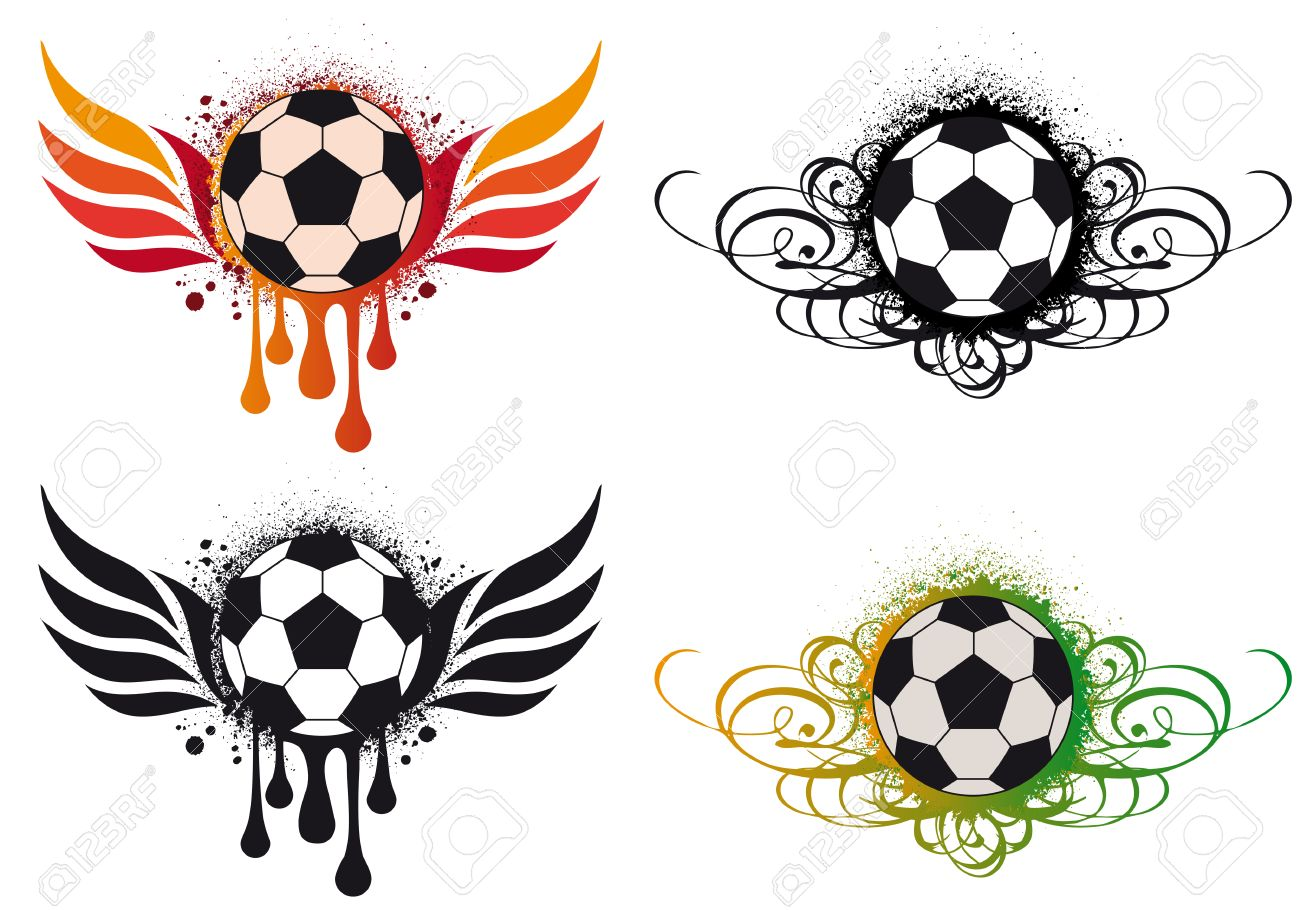 Soccer ornaments - Vector Grungy Soccer Ball With Fire Wings And Ornaments Background