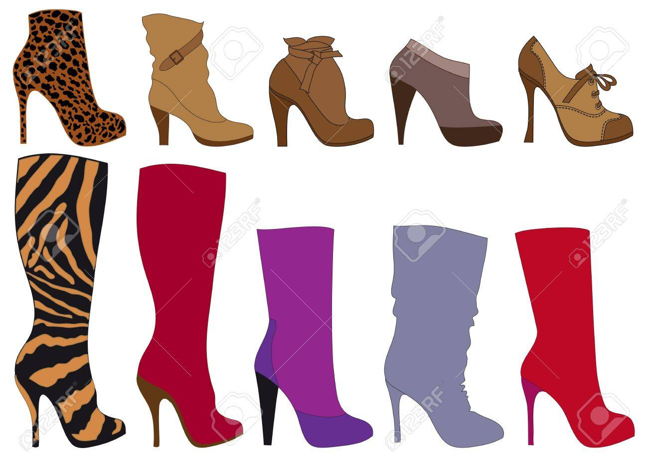 set of detailed shoe silhouettes Stock Vector - 7971104