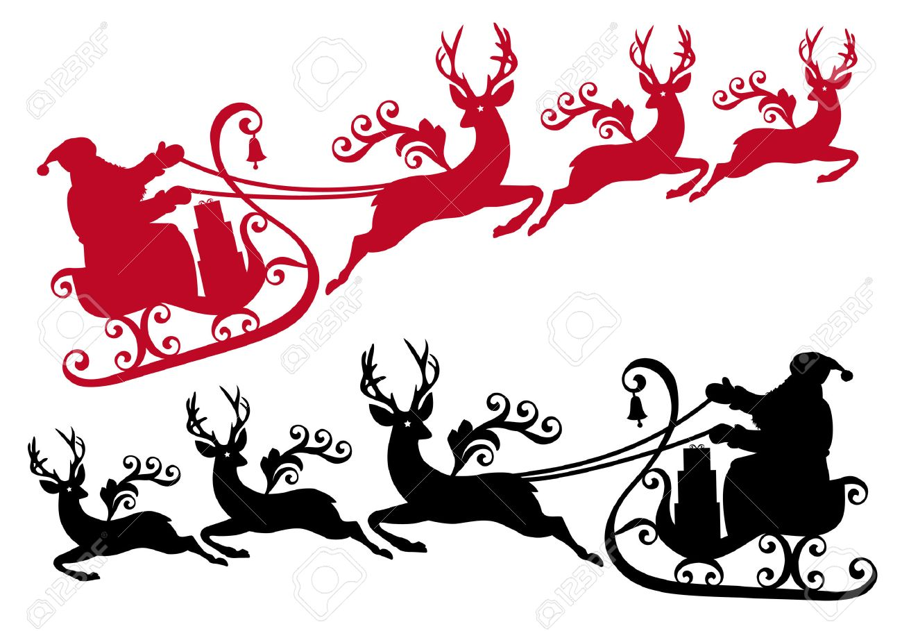santa with his sleigh and reindeer Stock Vector - 8186072