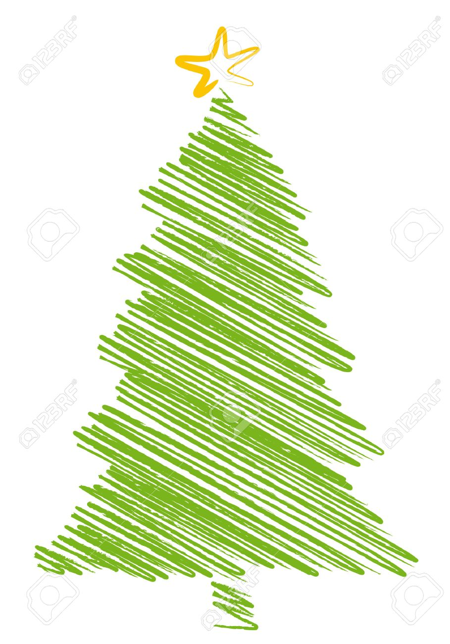 Christmas tree drawing - Vector Christmas Tree Scribble Drawing Background