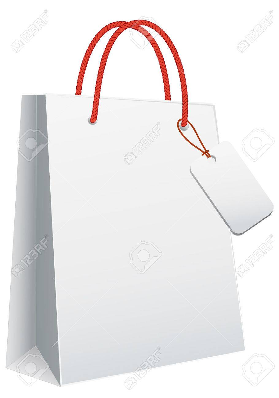 White Blank Shopping Bag, Vector Template Royalty Free Cliparts ...