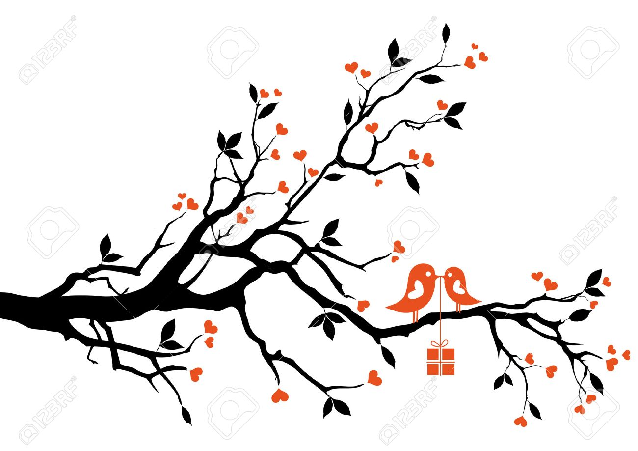 love bird with gift box, sitting on a tree branch, vector background Stock Vector - 8773277