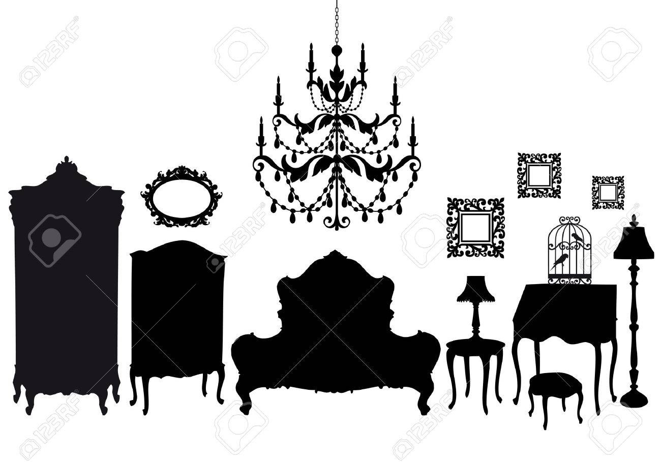 Antique chair silhouette - Vector Bedroom With French Antique Furniture Vector Background