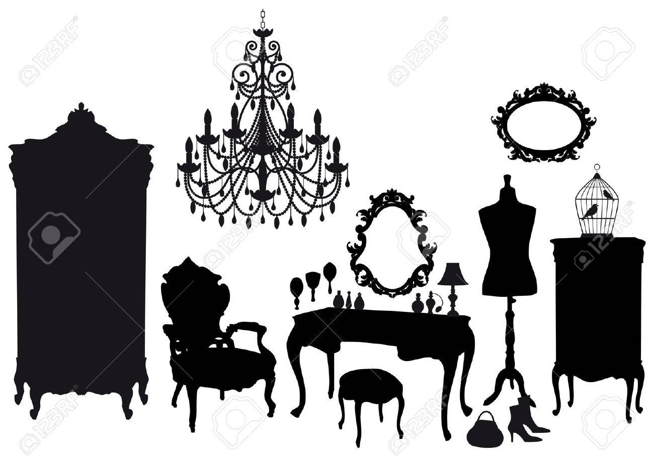 dressing room with antique furniture, vector background - 8920182