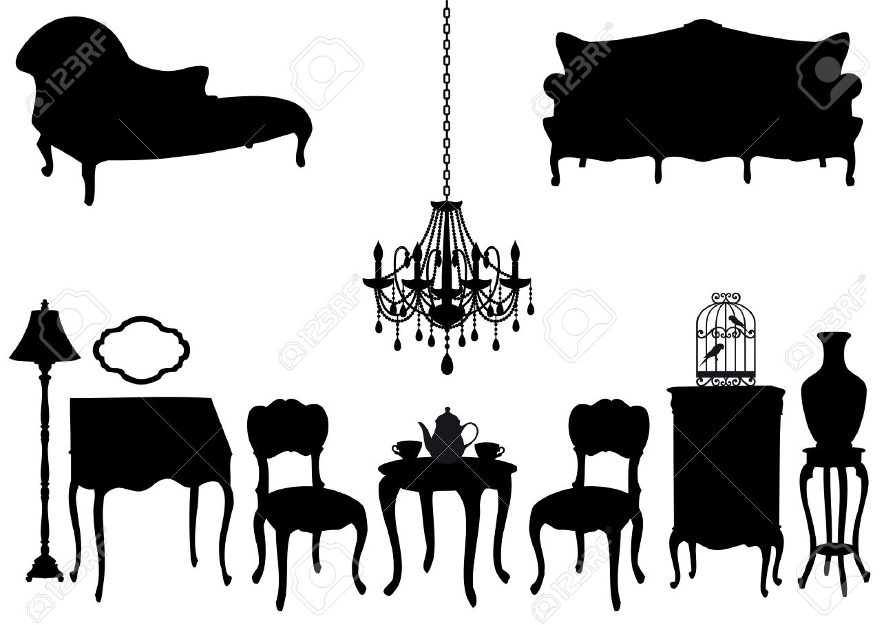 Antique chair silhouette - Vector Living Room With Antique Furniture Vector Background