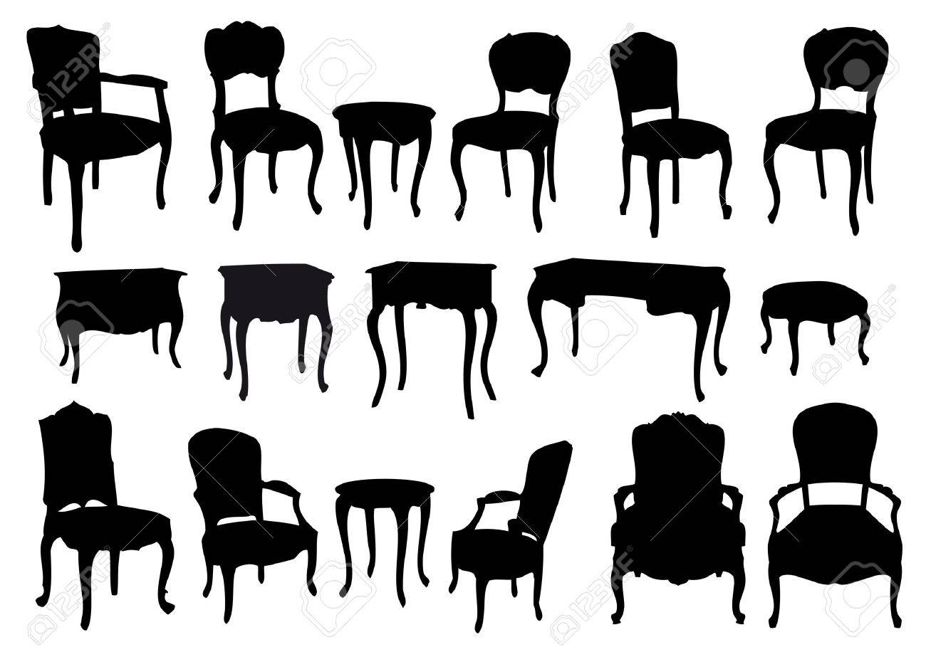 Antique chair silhouette - Chairs And Tables Antique Furniture Vector Illustration Stock Vector 8920194
