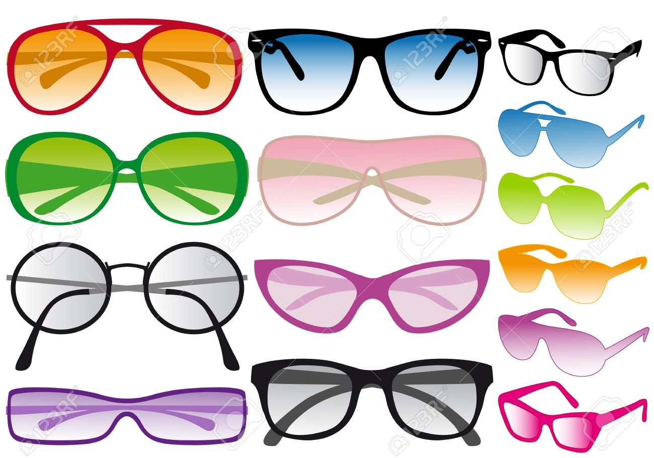 set of colorful sunglasses, vector Stock Vector - 9320411