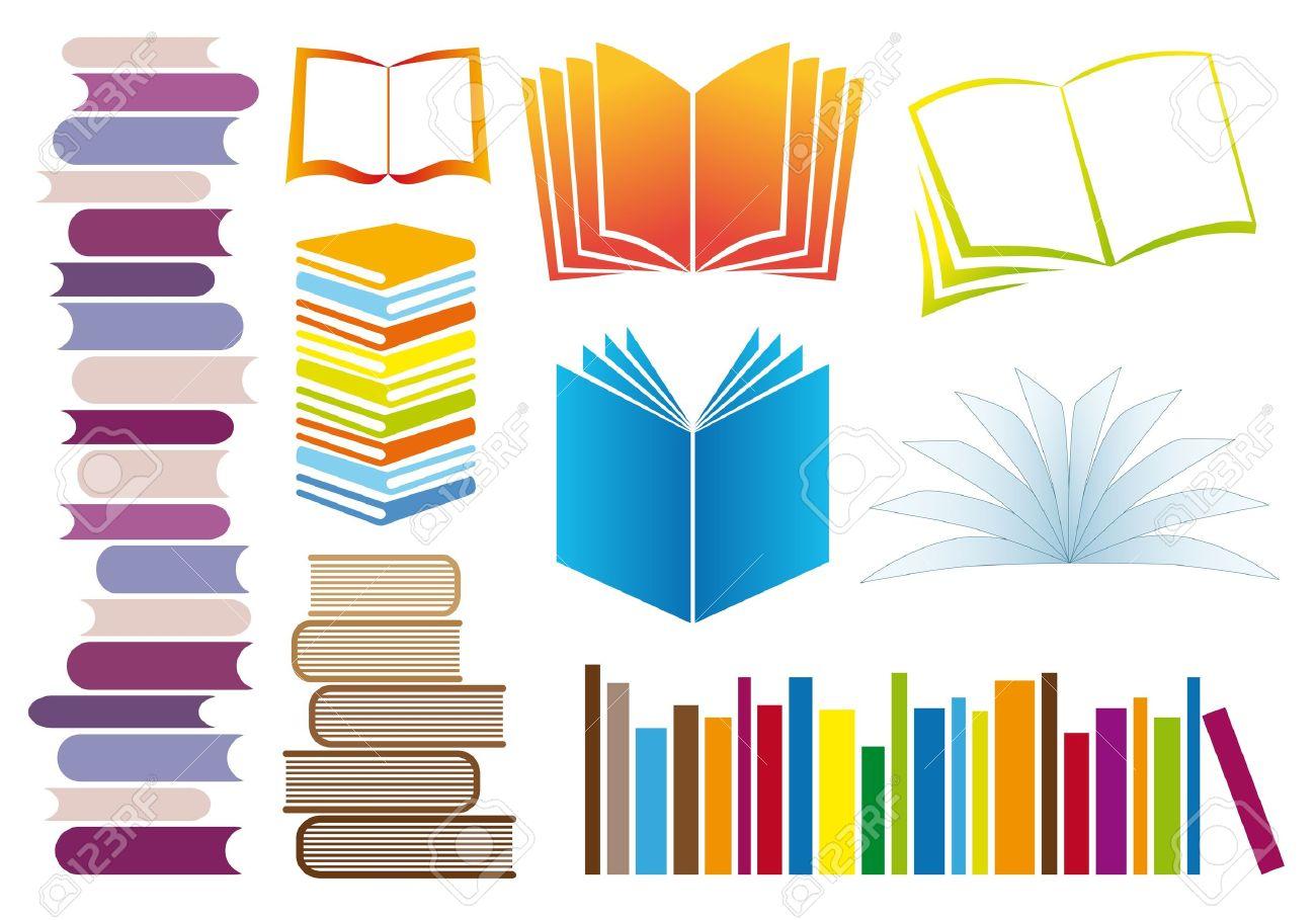 Conjunto De Libros Coloridos, Ilustración Vectorial Ilustraciones ...