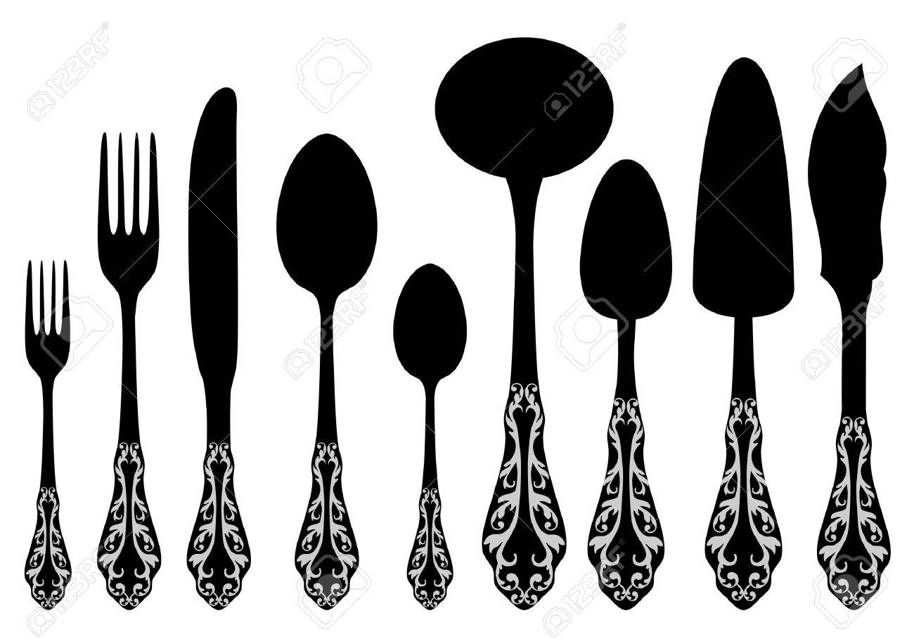 antique cutlery service Stock Vector - 9894511