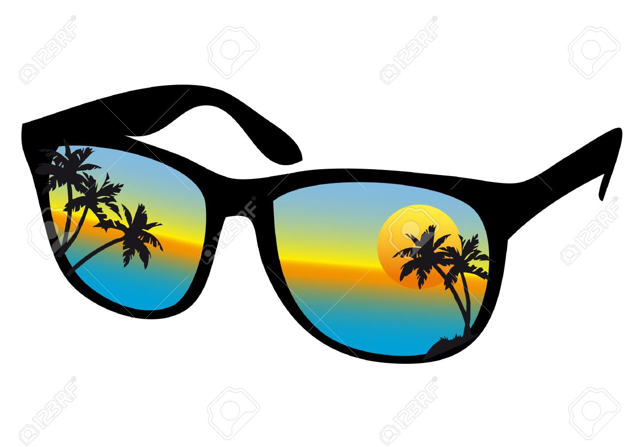 sunglasses with sea sunset and palm trees, vector - 10010493