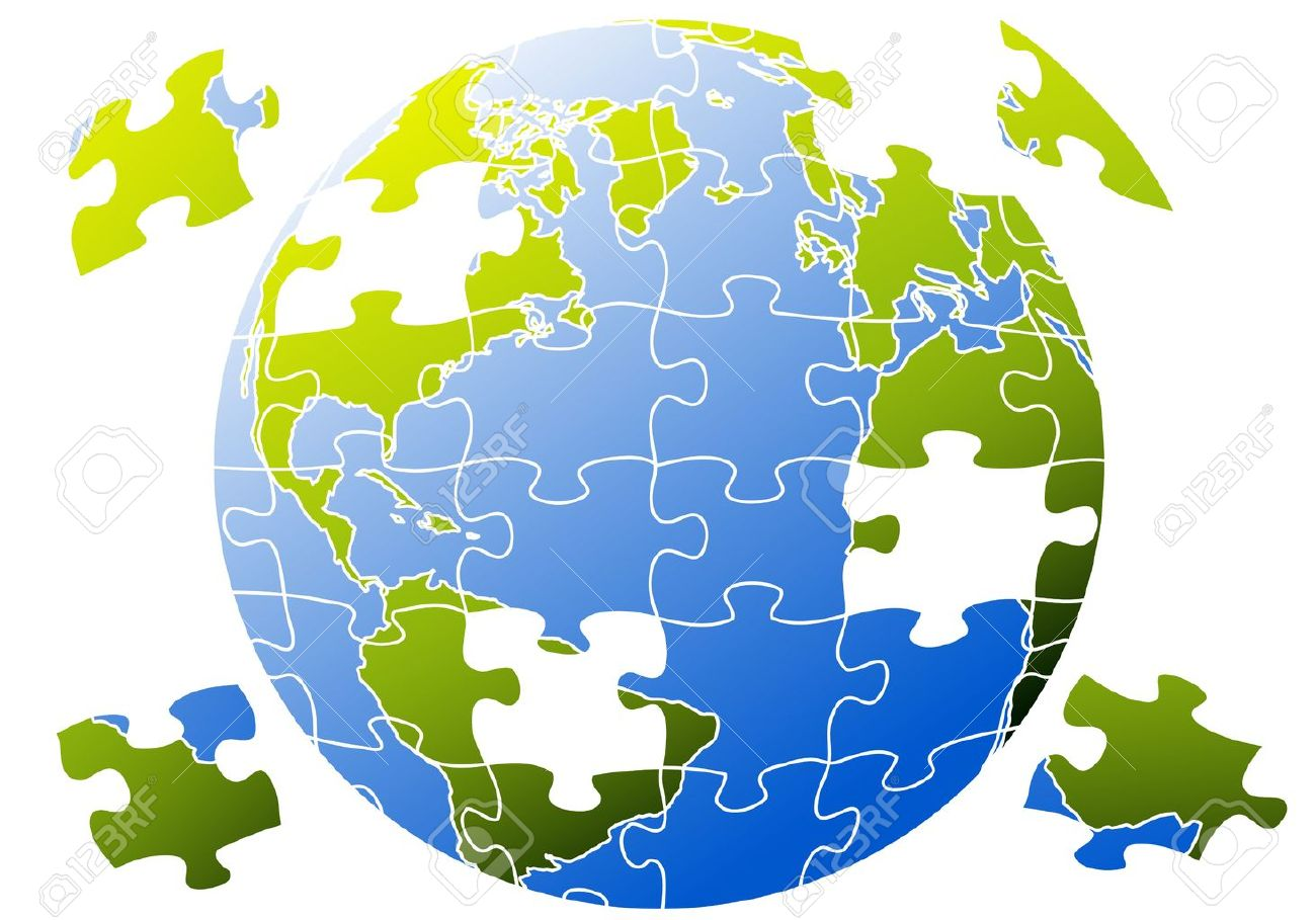 earth globe with jigsaw puzzle Stock Vector - 10358853
