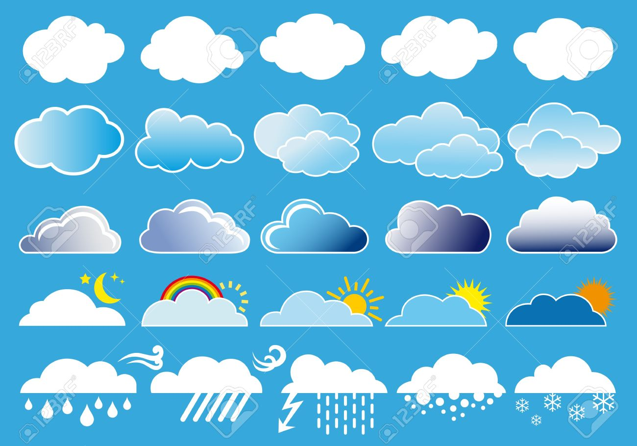 different clouds and weather symbols vector set royalty free