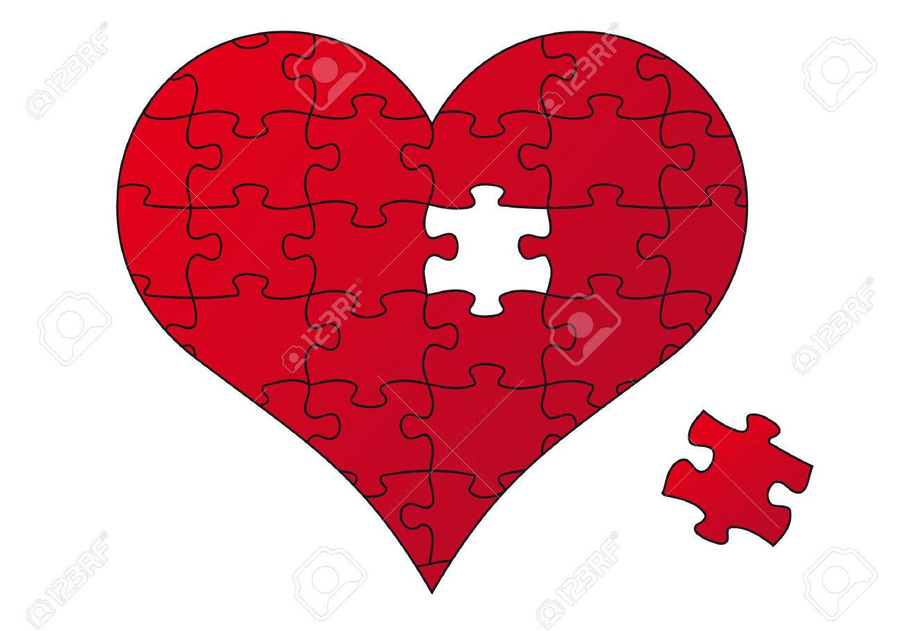 red jigsaw heart and piece, vector illustration Stock Vector - 11140816