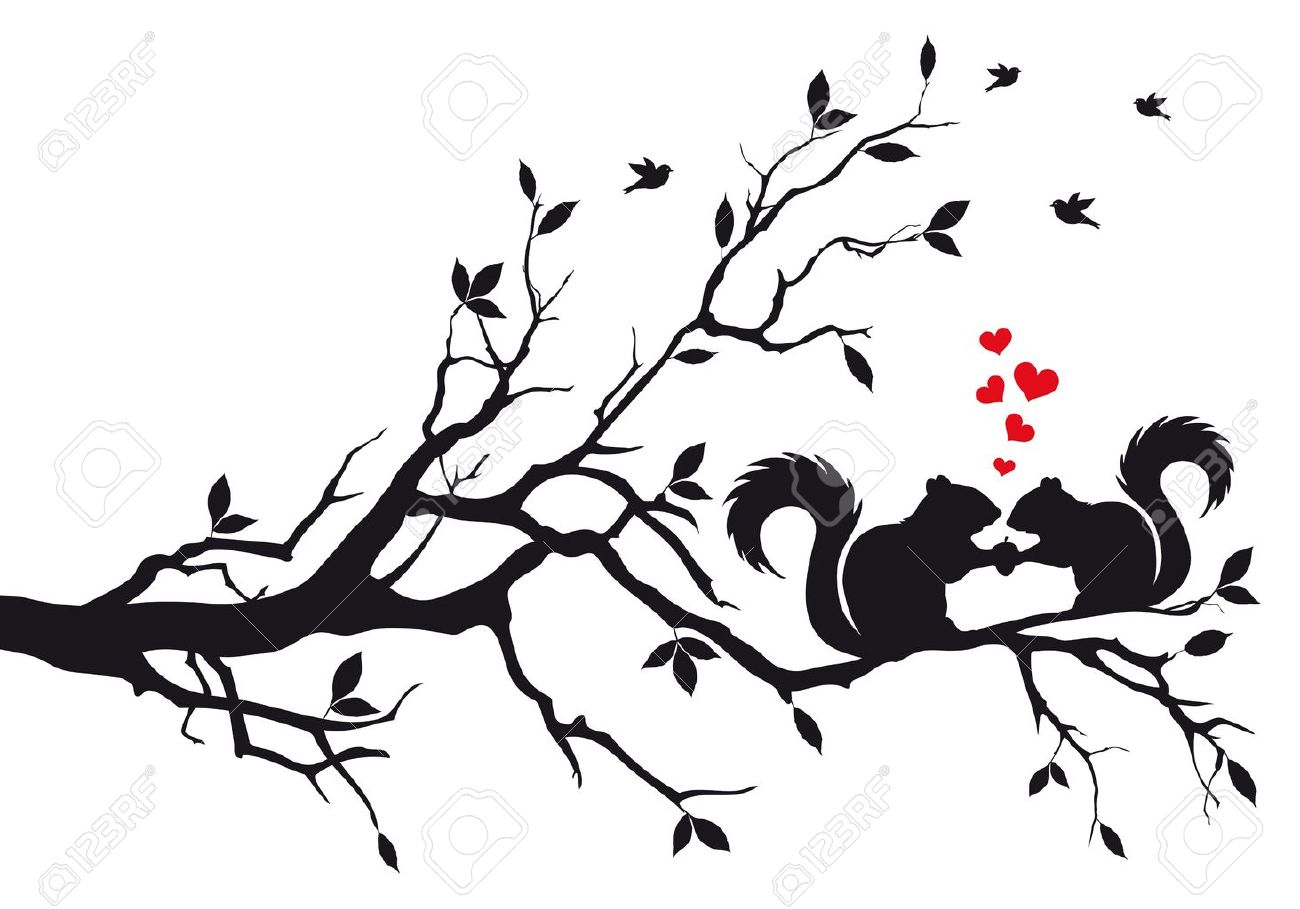 tree branch vector. squirrels on tree branch, vector background stock - 11266817 branch t