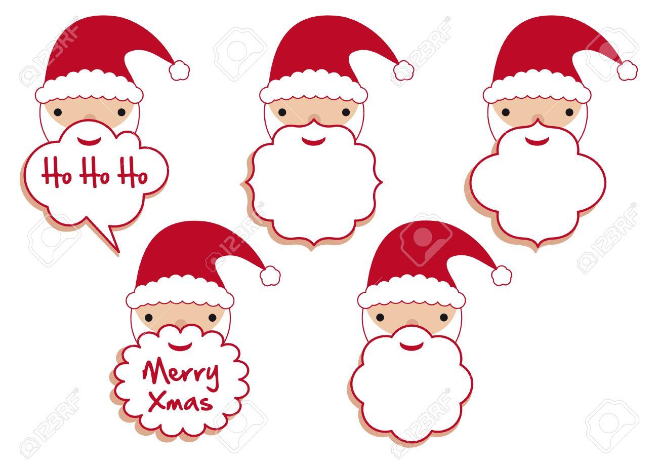 set of santa beard frames vector template royalty free cliparts