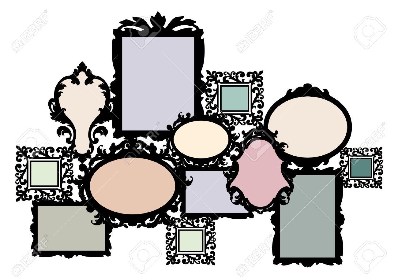 vector blank multiple picture frame set vector design element