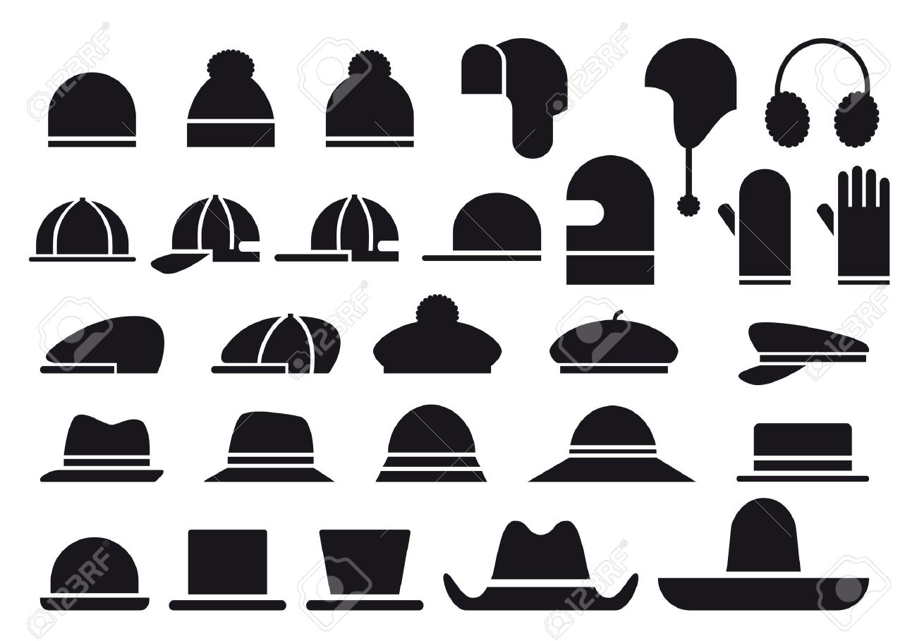 set of various hats, vector icons Stock Vector - 12075705