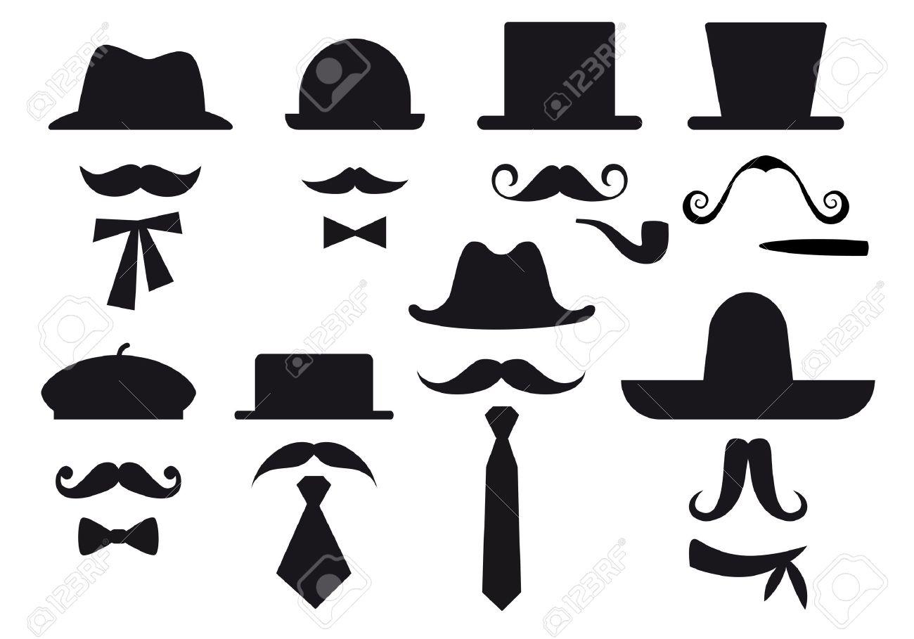 mustaches, hats and ties, gentleman set Stock Vector - 12248237