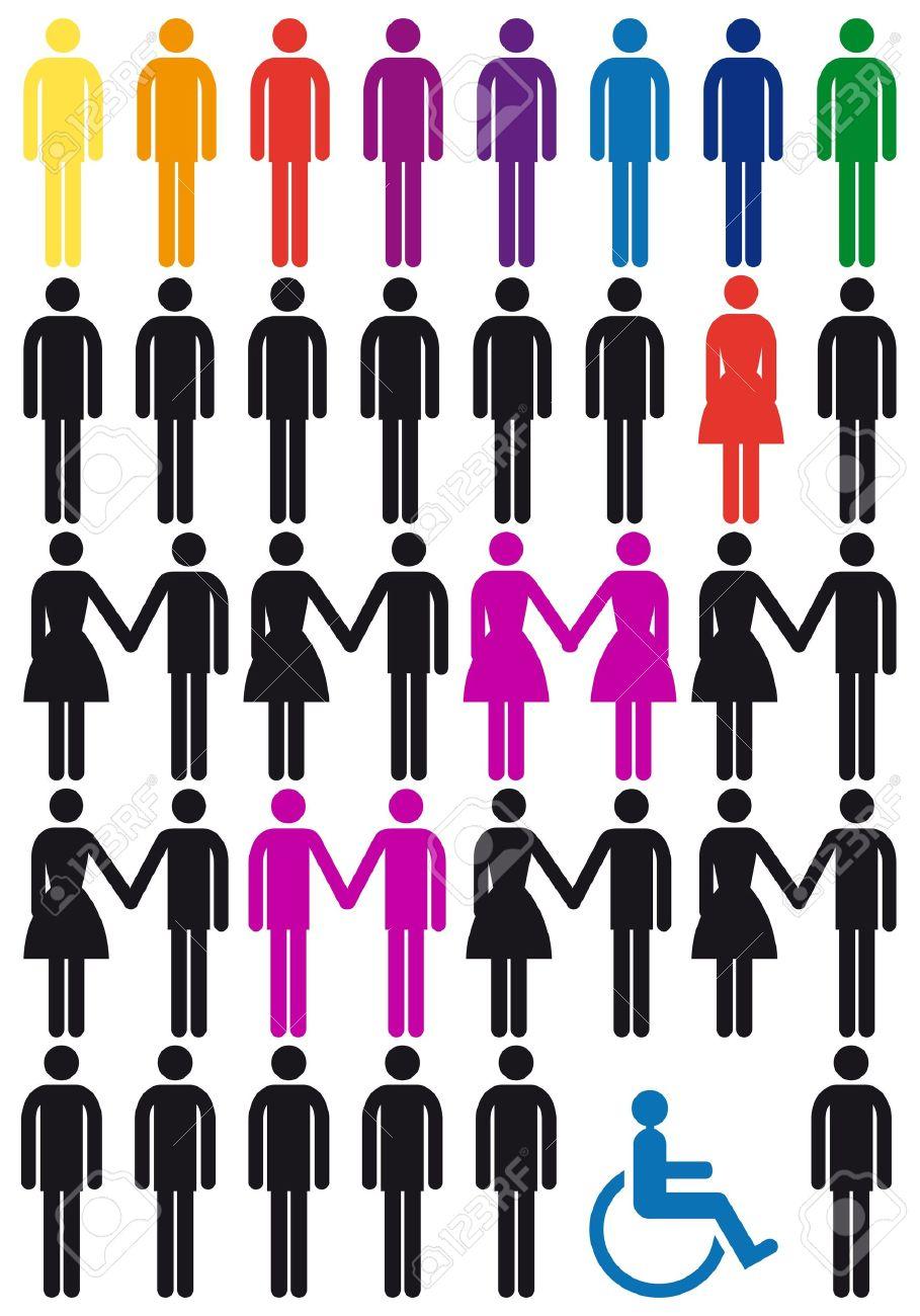 diversity concept, vector people icon set - 12494925