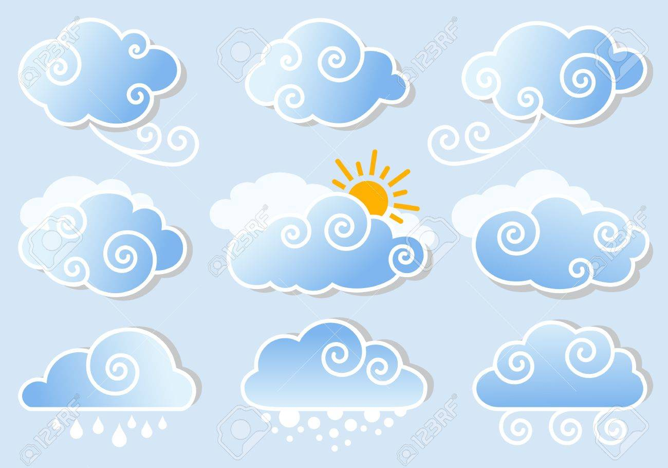 blue sky with cute cloud set vector design elements royalty free