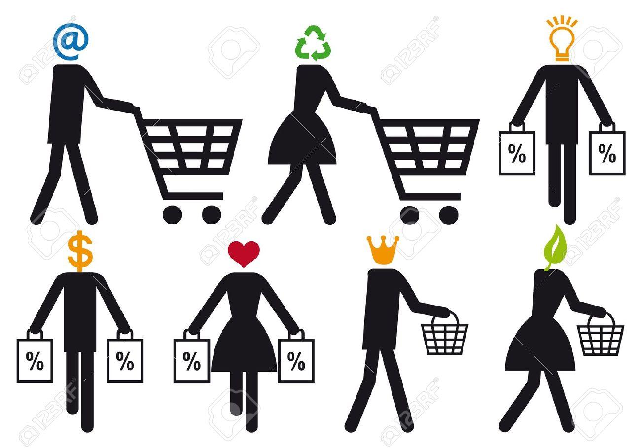 smart shopper people, vector icon set - 12496627