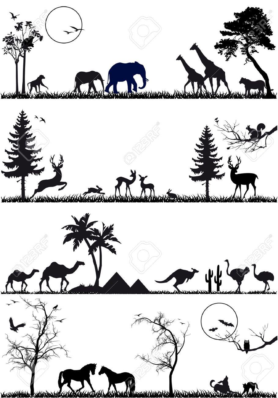 wildlife animals, vector background set Stock Vector - 13130169